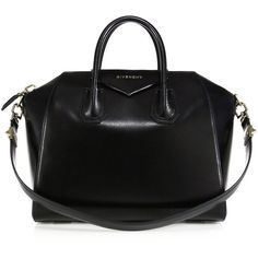 Givenchy Antigona Medium Glazed Leather Satchel (3,025 CAD) ❤ liked on Polyvore featuring bags, handbags, apparel & accessories, black, structured purse, black satchel bag, givenchy purse, satchel handbags and structured satchel