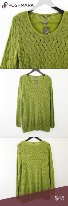 """J. Jill Eyelet Leaf Loose Knit Sweater Tank Set J. Jill Eyelet Leaf Loose Knit Sweater Tank Set. Brand new and never worn, NWT. Features a light sock weight  cotton silk blend knit, loose eyelet wave leaf stitch pattern, avocado green on both, long sleeves with Ribbed cuff, ribbed hem with tiny slit in sides, full length, round neck, and sleeveless round neck tank to match. [Tank: 21"""" pit to pit, 25"""" length] [Sweater: 21"""" pit to pit, 30"""" length, 26"""" Sleeve]. Very loose and lightweight. Feel…"""