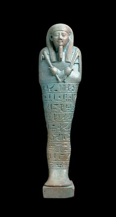 Shawabty. Dated 664–525 B.C. Dimensions Height x width x depth: 20.7 x 5.3 x 4.3 cm (8 1/8 x 2 1/16 x 1 11/16 in.) Medium Faience Collections The Ancient World Classifications Tomb equipment Culture Egyptian Period Late Period, Dynasty 26–30