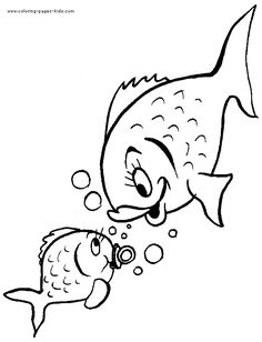Mother and child fish color page. Animal coloring pages. Coloring pages for kids. Thousands of free printable coloring pages for kids! Fish Coloring Page, Animal Coloring Pages, Colouring Pages, Printable Coloring Pages, Coloring Pages For Kids, Coloring Books, Fish Drawings, Art Drawings For Kids, Mother And Baby Animals