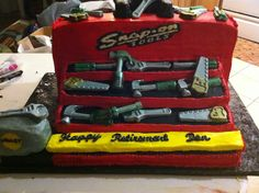 Tool box cake made for a retirement party. All edible tools.