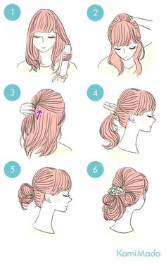 51 Ideas For Hair Tutorial Retro Bangs Braided Hairstyles Updo, Cute Quick Hairstyles, Sweet Hairstyles, Latest Hairstyles, Cute Hairstyles, Wedding Hairstyles, Retro Bangs, Natural Hair Styles, Short Hair Styles