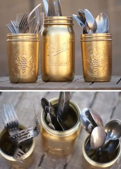 Gold Painted Silverware Mason Jars | Click Pic for 20 DIY Kitchen Storage Ideas for Small Spaces | Easy Kitchen Organization Ideas