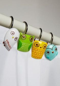 Too cute shower curtain hooks