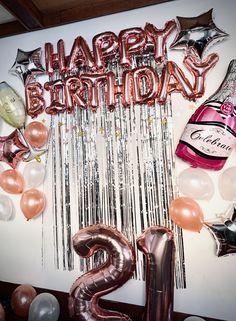Twenty-First Birthday Surprise Party! Happy Birthday Decor, Birthday Balloon Decorations, Happy 21st Birthday, Gold Birthday Party, Birthday Weekend, Birthday Balloons, Birthday Party Themes, 21st Party Decorations, Twenty First Birthday