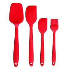 RichD Silicone Spatula Set  Basting Brush Cooking Utensil Set of 4HeatResistant SpatulasNonStick and Dishwasher Safe Kitchen Utensil ToolRed * Visit the image link more details.-It is an affiliate link to Amazon. #KitchenUtensils