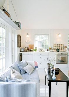 Bright Swedish House Under 1000 Square Feet Cottage Living, Home Living Room, Living Spaces, Swedish House, Living Room Lighting, White Houses, House Floor Plans, Long Island, Small Living