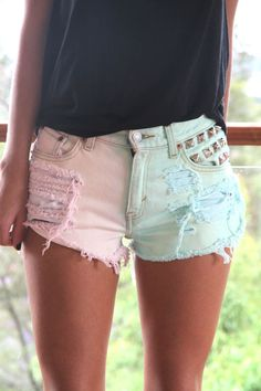 cotton candy studded shorts