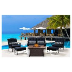 Oceana 6pc Lounge Set With Lp Gas Fire Pit - Navy Blue - Hanover