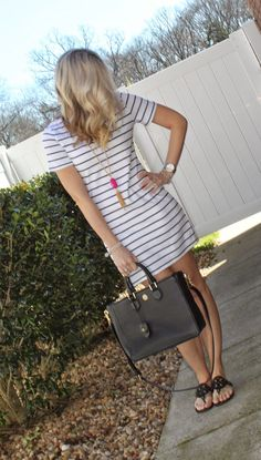threaddiction: Striped Tee Dress sheinside.com dress, rayne necklace, Kendra Scott inspired, tory burch miller sandals, robinson tote