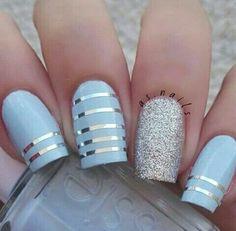 Uñas Decoradas Color Azul Celeste Uñas Pinterest Nails Nail