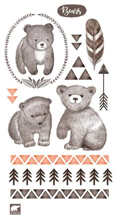 Cute Bear Drawings, Animal Drawings, Grandfather Tattoo, Bear Sketch, Bunny And Bear, Bear Illustration, Hand Sketch, Flower Doodles, Bear Art