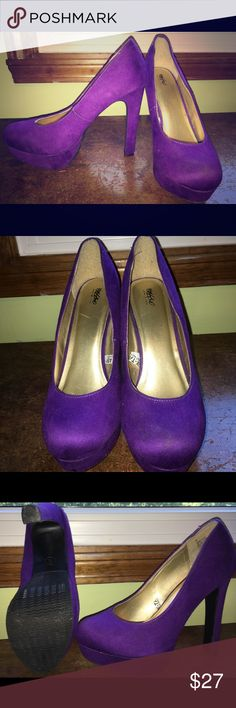 Mossimo purple suede 4 inch heels These purple suede heels are fabulous! A definite nightlife staple. They are a size 8.5. Mossimo Supply Co Shoes Heels
