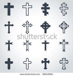 Vector black crosses icon set.