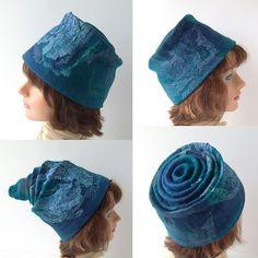 Felt hat - turquoise