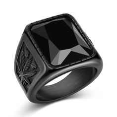 Jiayiqi Men Hiphop Ring Stainless Steel Black/Red Stone Ring Rock Fashion Male Jewelry-in Rings from Jewelry & Accessories on AliExpress Black Rings, Silver Rings, Ruby Rings, Pinky Rings, Mens Stainless Steel Rings, Templer, Men With Street Style, Rock Style, Fashion Rings