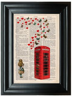 London Telephone Box dictionary art print book page antique vintage dictionary print wall art, Victorian decor, Alice in Wonderland