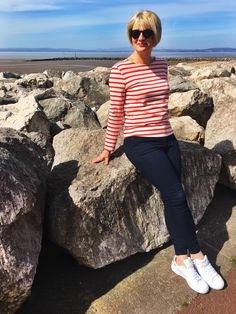 A classic breton and jeans outfit worn with Sam Smith's for a quick early summer lunch by the sea. Midlifechic is a style blog for women over 40.