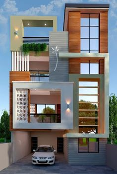 The exterior is the face of the house that everyone will see in the first part. Take a look at the world's most beautiful modern homes and find House Outside Design, House Front Design, Small House Design, Modern Exterior House Designs, Modern House Design, Exterior Design, 3 Storey House Design, Bungalow House Design, Beautiful Modern Homes