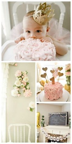 Floral Pink and Gold First Birthday Party - fab decor ideas!