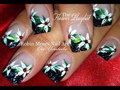 DIY White flower Nails | Elegant Christmas Nail Art Design Tutorial | Nail-art by Robin Moses | Bloglovin'