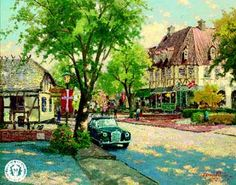 Plein Air painting of Solvang, California that is inspired by Denmark - by the late Thomas Kinkade Wall Calender, Thomas Kinkade, Disney Dream, Artist Art, American Artists, Canvas Artwork, Painting Inspiration, Old World, Denmark