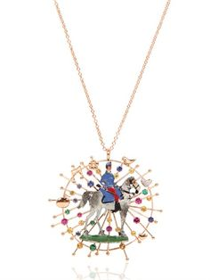 Blue, pink and yellow sapphires, Emeralds and Diamonds on 18kt Pink Gold - FRANCESCA VILLA