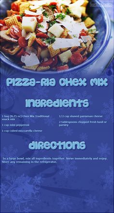 Pizzaria chex mix..hmmm I'm not sold but I'll have to try it
