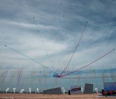 Troupe: Alpha jets, part of the Patrouille Acrobatique de France, leave trails of smoke in...