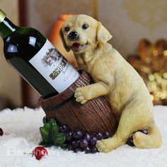 American Country Style Cute Puppy Resin 1-Bottle Wine Holder