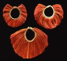 India | Three anklets from the Ao Naga people | 2nd half of the 19th century | Dyed hair and natural fiber.