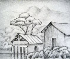 Rural House Landscape Drawing
