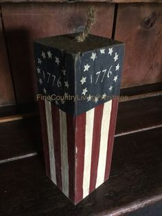 Primitive Colonial Americana Handcrafted Firecracker Flag 1776 ~ Made In USA #NaivePrimitive