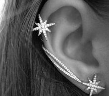 2015 newest celebrity style sparkly rhinestone snowflake asymmetric jacket earring fashion brand women earring E01
