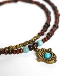 Hamsa Hand Necklace Yoga Wood with Brass Beads by LOVEnLAVISH, $24.00
