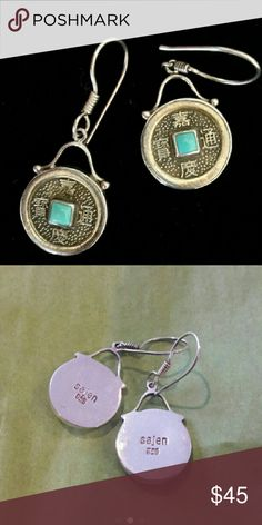 """Sajen Sterling Turquoise Good  Fortune Earrings 1 1/2"""" Long x 1"""" Wide, marked Sajen and 925. Genuine Turquoise stone. Bought these for a friends birthday never ended up giving them to her. I paid $47 on Posh. Sajen Jewelry Earrings"""