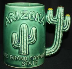 Vintage Arizona The Grand Canyon State Embossed Green Cactus Mug Cup - Japan in Collectibles | eBay