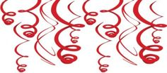 Red Plastic Swirl Hanging Decorations - Party City