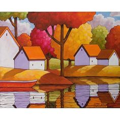 PAINTING ORIGINAL Acrylic on Canvas Folk Art Red Canoe Cottage Fall Trees Modern Landscape Autumn Abstract Colorful Artwork by Horvath 16x20