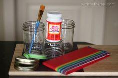 Mason Jar Lanterns: tissue paper, mod podge, paint brush, white glue. Doing this this afternoon