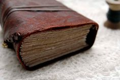 Rugged Rouge - Rustic Leather Journal, Burgundy Reclaimed Leather, Tea Stained Pages, OOAK