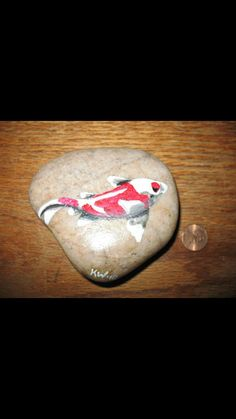 Painted river rock koi fish by KristinsArt4u on Etsy