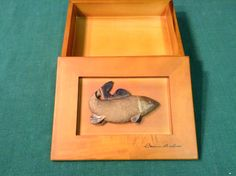 Beautiful Wooden Box with a Fish Decoration - Diggit Victoria Wooden Boxes, Victoria, Fish, Decoration, Frame, Crafts, Beautiful, Home Decor, Wood Crates