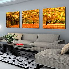 Stretched Canvas Art Landscape Autumn Maples Set of 3 - USD $ 69.99