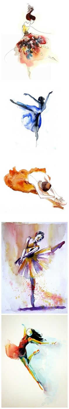 Watercolor Dancers, the second and last ones would make beautiful tattoos!