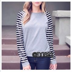 Sequin Sweatshirt Grey sweatshirt with black white striped sequin sleeves. Nice quality perfect casual glam for the holidays. Size M made of terry/cotton and sequin. Tops Sweatshirts & Hoodies