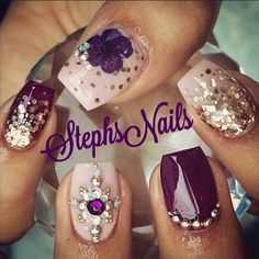 #ShareIG #nude#plum#rosegold#chunkyglitter#flowers#encapsulated#diamonds#glitter#ombre#love#rosegoldstuds#glitter#nudeandplumnails#love