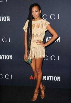 Solange   Fringe Bottom Shirt Dress   Gucci Metallic Gold Heels