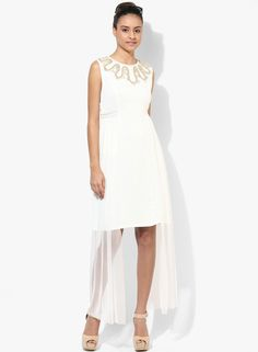 Soie Off White Colored Embroidered Shift Dress
