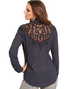 GUESS Top, Long-Sleeve Mesh Blouse - Tops - Women - Macy's
